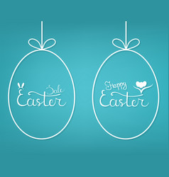 template hanging egg form with lettering vector image
