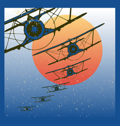 vintage planes dive against evening sun vector image