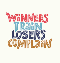 winners train lettering vector image