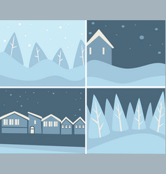 Wintertime scenery set landscapes and cityscapes vector