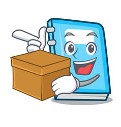 with box education character cartoon style vector image