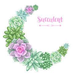 Wreath with succulents echeveria jade plant vector