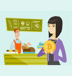Young caucasian baker offering payment by bitcoin vector