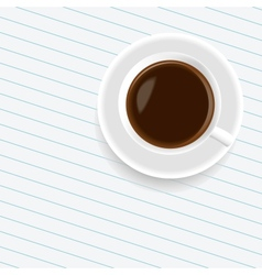 A cup of coffee on the sheet of paper vector image