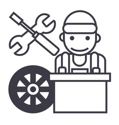 auto mechanicbattery wheelscrewdriver and wrench vector image vector image