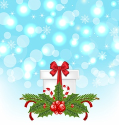 Christmas gift box with holiday decoration vector image vector image