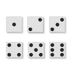set of realistic white dice isolated vector image