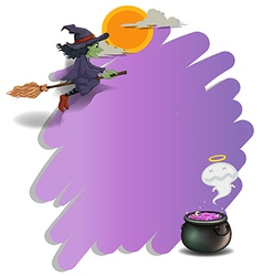 A witch riding on a broom and an empty violet vector image vector image