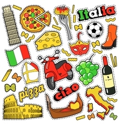 Italy Travel Scrapbook Stickers Patches Badges vector image vector image