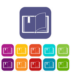 open book icons set vector image vector image