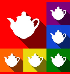 tea maker sign set of icons with flat vector image