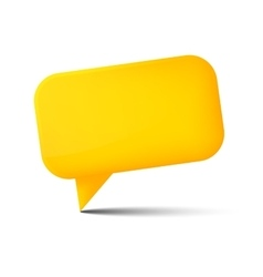 Abstract yellow glossy speech bubble with shadow vector image