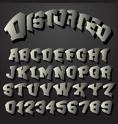 alphabet font distorted design vector image