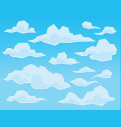 clouds in geometric flat faceted style on blue vector image vector image