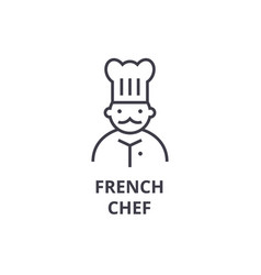french chef line icon outline sign linear symbol vector image