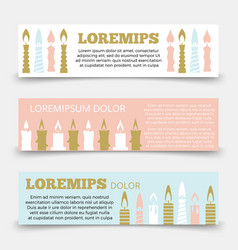 horizontal banners template with candles vector image vector image