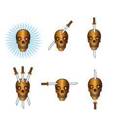 set of skulls with swords vector image