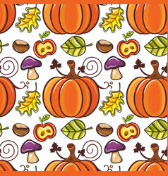 autumn seamless pattern with ripe pumpkins vector image vector image