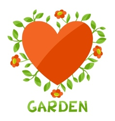 Background with heart and flowers love garden vector image vector image
