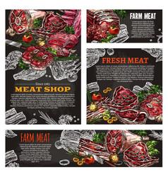 meat product chalkboard banner for butcher shop vector image vector image