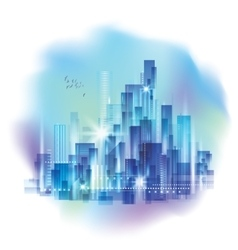 Modern night city skyline with reflection on vector image vector image