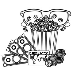pop corn 3d glasses and money credit card icon vector image vector image