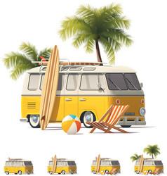 realistic vintage hippie van icon set vector image vector image