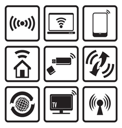 Wireless technology web icons set vector image vector image