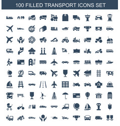 100 transport icons vector