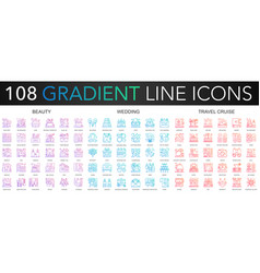 108 trendy gradient color complex thin line icons vector