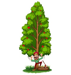 A happy woodman under the tree vector
