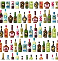 Alcohol drinks seamless pattern bottles vector