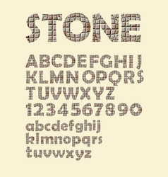Alphabet in stone cubes texture design uppercase vector