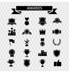 awards and trophies set icons vector image