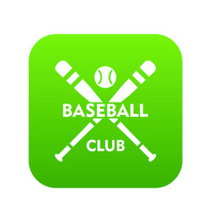 baseball club icon green vector image