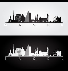 Basel skyline and landmarks silhouette vector