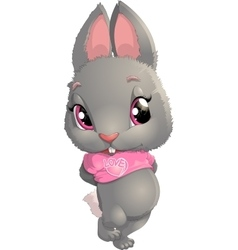 beautiful gray rabbit vector image