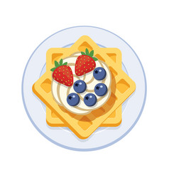 Belgian waffles with ice cream and berries vector