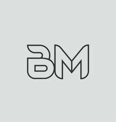 Black and white alphabet letter bm b m logo vector