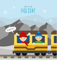 boy train public railway mountain travel vector image