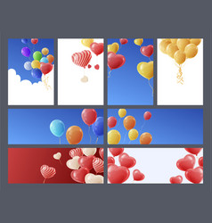 bright multicolored cartoon balloons banner vector image