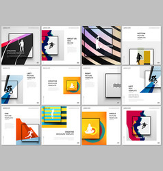 Brochure layout square covers design templates vector