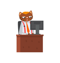 businessman cat sitting at desk and working at vector image