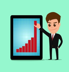 Businessman holding graph to growing up from table vector image