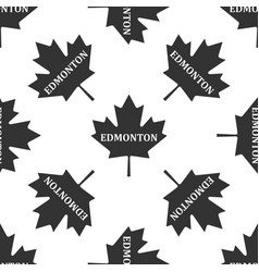 canadian maple leaf with city name edmonton icon vector image