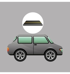 Car vehicule gray on road vector