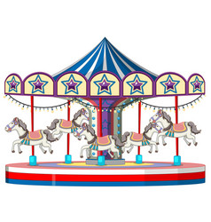 carousel with white horse on white background vector image