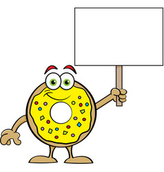 cartoon happy donut holding a sign vector image