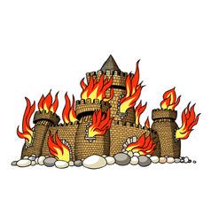 cartoon image of burning castle vector image