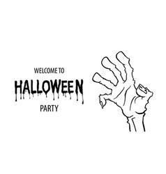 cartoon outline zombie hand flyer sale design vector image